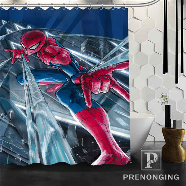 Marvel Spiderman Shower Curtain Fabric Waterproof Mildewproof Modern Bath Bathroom 113 Multi Size S 17121610 In Curtains From Home