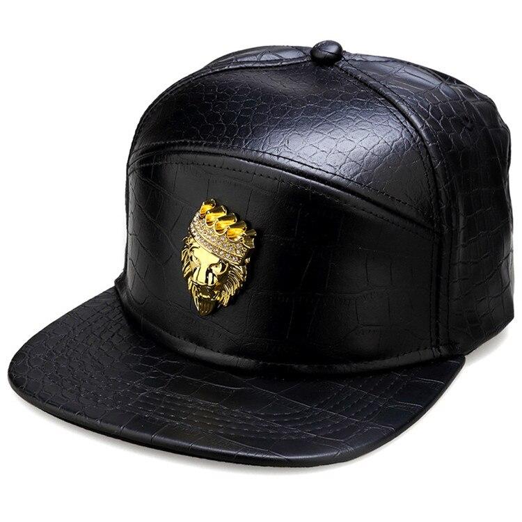 6630445a255 Men Women Rock gifts hip hop hat PU Leather Gold hats Rhinestone Crocodile  Diamond Lion head Crown Baseball Caps Snapback-in Baseball Caps from  Apparel ...