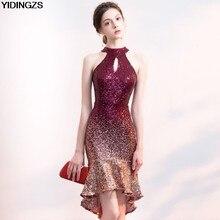 62d807b0ab6 YIDINGZS Новый Для женщин Холтер Элегантный блесток короткое платье для  выпускного бала спереди и длинное сзади