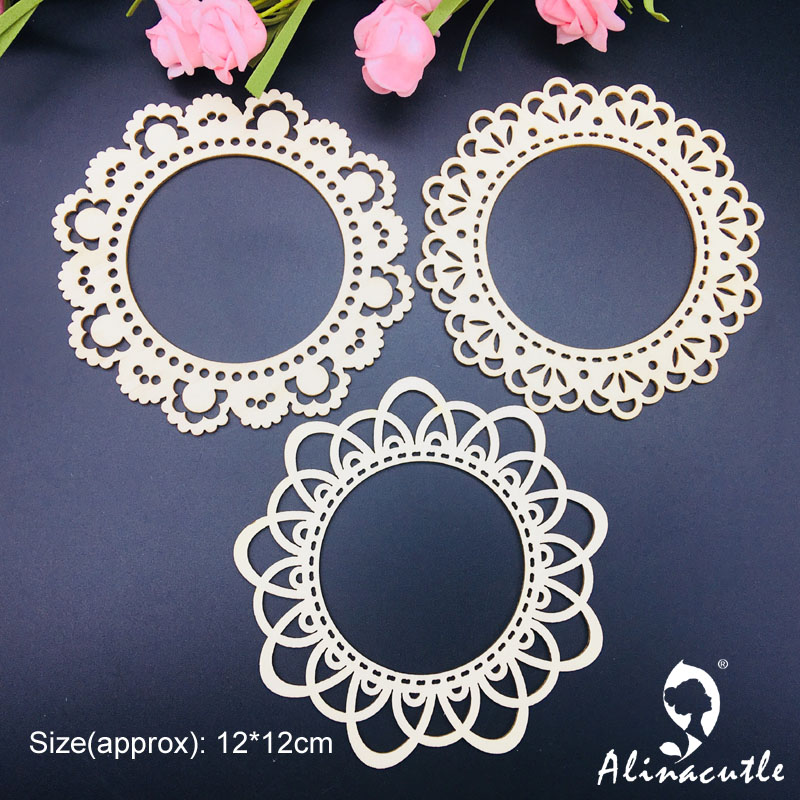 3pc Flower Border Circle Frame Natural Laser Wood Chips Embellishments Scrapbooking Crafts Handmade Card Art Album Alinacraft