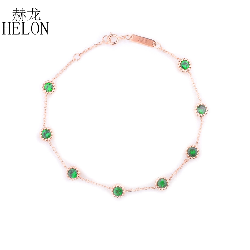 HELON Solid 18k Rose Gold 1.2ct Round Genuine Tsavorite Wedding Bracelet Romantic Women Jewelry Girl Gift Party Trendy Bracelet trendy letter heart round rhinestone bracelet for women