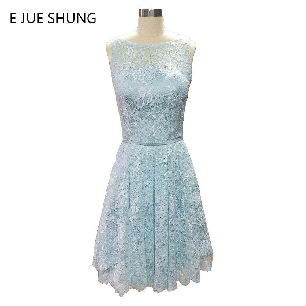 E JUE SHUNG Cahaya Blue Lace Dress Pengapit Pengantin Pendek 2017 A-line Pakaian Parti Perkahwinan Murah Pakaian Formal