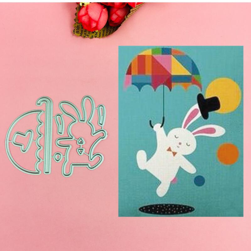 Rabbit with umbrella Cutting Dies Stencils for DIY Scrapbooking photo album Decorative Embossing DIY Paper Cards in Cutting Dies from Home Garden