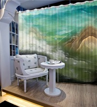 3D Window Curtain Foggy forest Luxury Blackout Living Room office Bedroom marble curtains