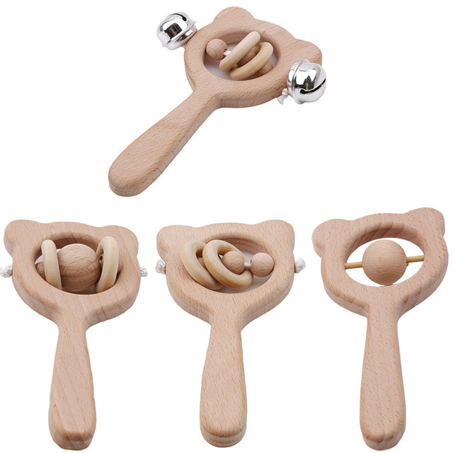 Juguetes de bebé de madera de haya Oso de madera mano de dentición anillo de madera puede masticar cuentas de bebé sonajeros jugar gimnasio Montessori cochecito Juguetes