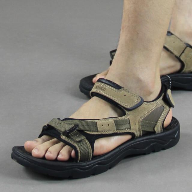 Vietnam shoes leather sandals 2015 outdoor men's sandals summer casual male