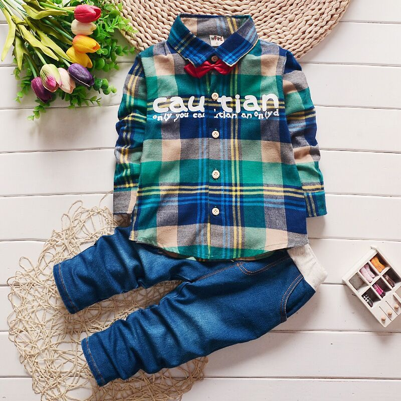 2017 Spring Kids Warm Kids Costumes Set Boy Children's Fashion Plaid Suit Boys Clothes Baby Kids Clothing Sets Boy Outfits Brand
