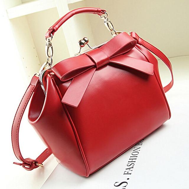 new high quality italian leather handbags famous brand bow women messenger  bags vintage rivet shoulder bag design bolsos sac bag 800eb5b574