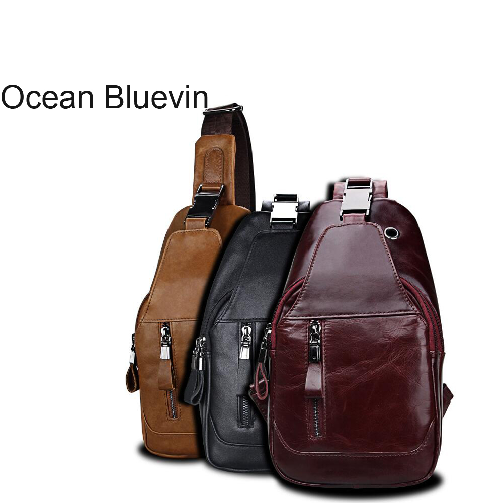 OCEANBLUEVIN Fashion Brand Oil Leather Mens Chest Bag Chest Pack Genuine Leather Crossbody Shoulder Bags Leather chest bag Male все цены