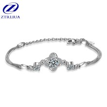 0433d1151575 Temperamento estilo coreano moda 925 joyería de plata esterlina femenina  cristal trébol brillante simple pulseras SB85