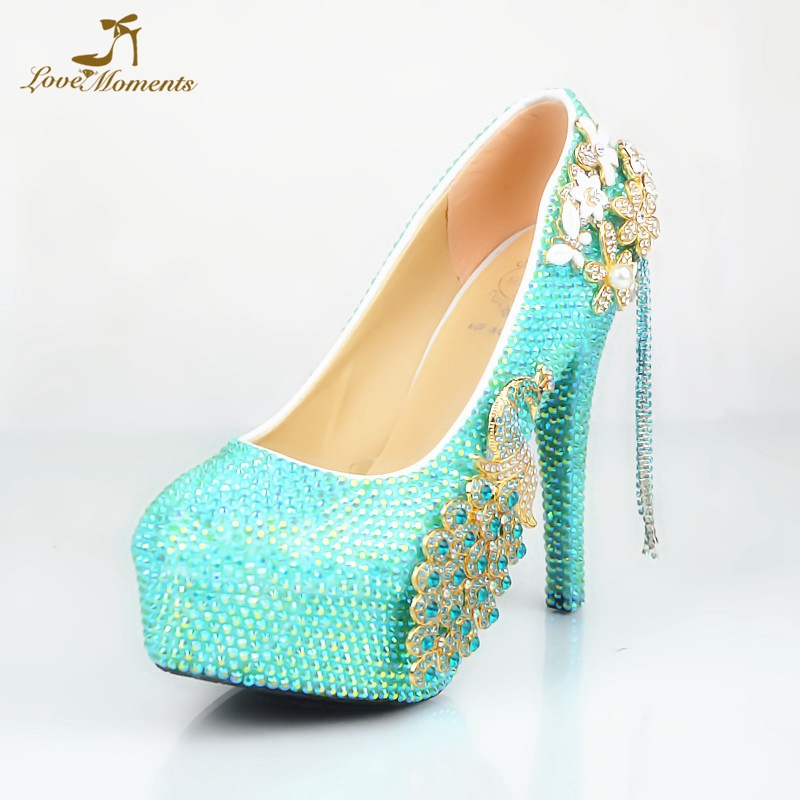 ea9c9e09cba Luxury Sky Blue AB Crystal Wedding Shoes Gorgeous Rhinestone Phoenix Bridal  Party Prom High Heels Anniversary Ceremony Pumps-in Women s Pumps from Shoes  on ...