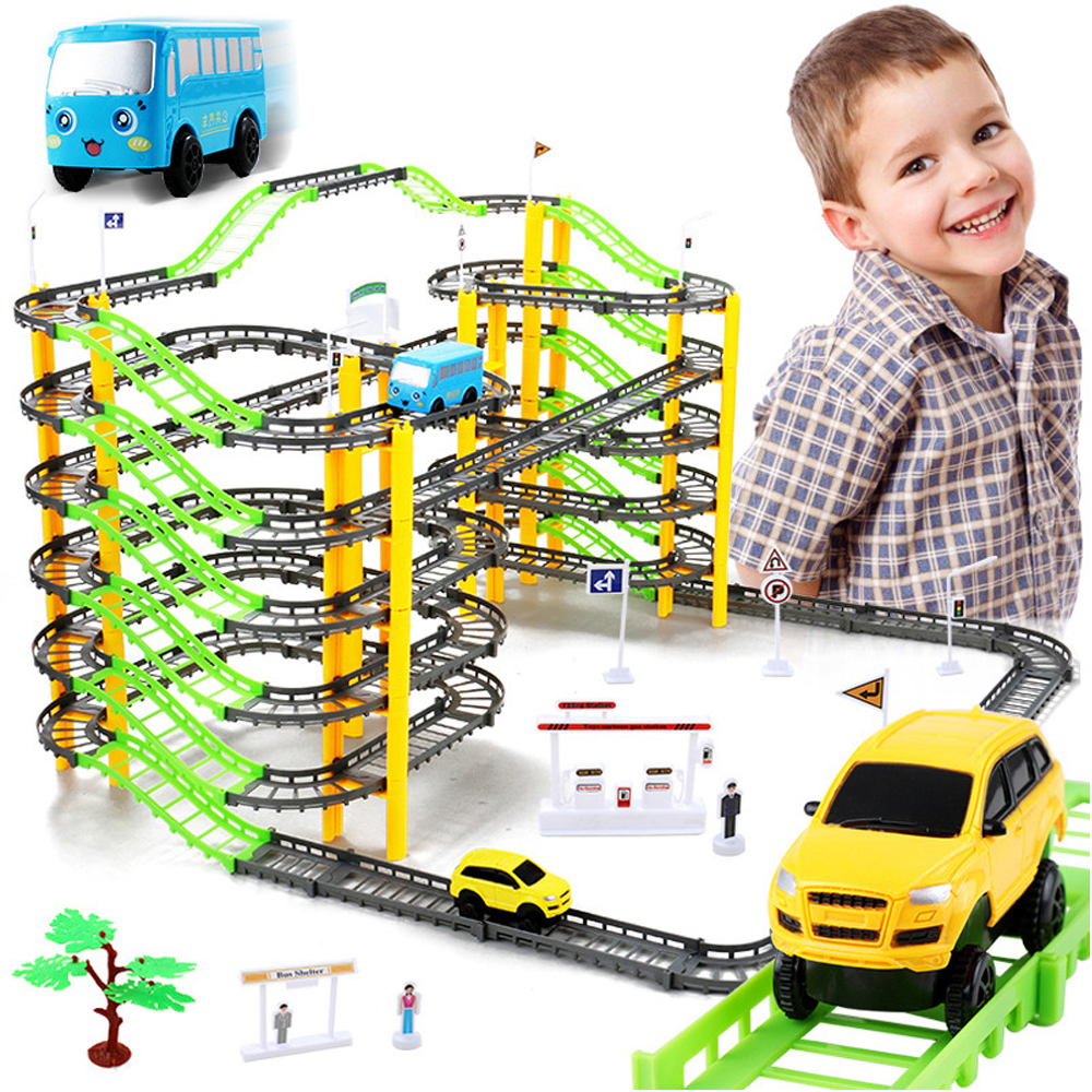 155PCS/Set 7-Layers Electric Rail Car DIY Assembly Railway Racing Track Set Educational Toys for Children