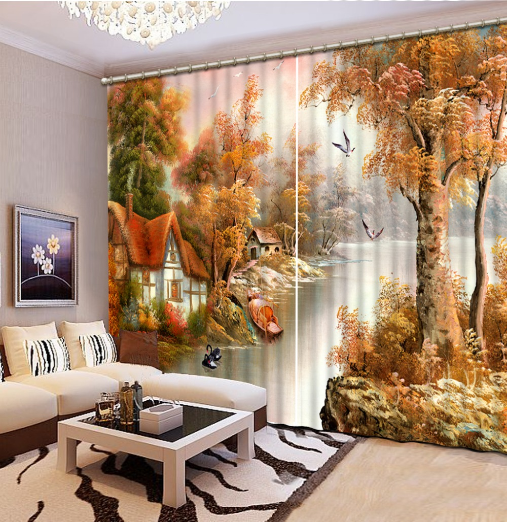 ⊰Personnalisé 3d rideaux peinture À L\'huile Européenne-style chalet ...