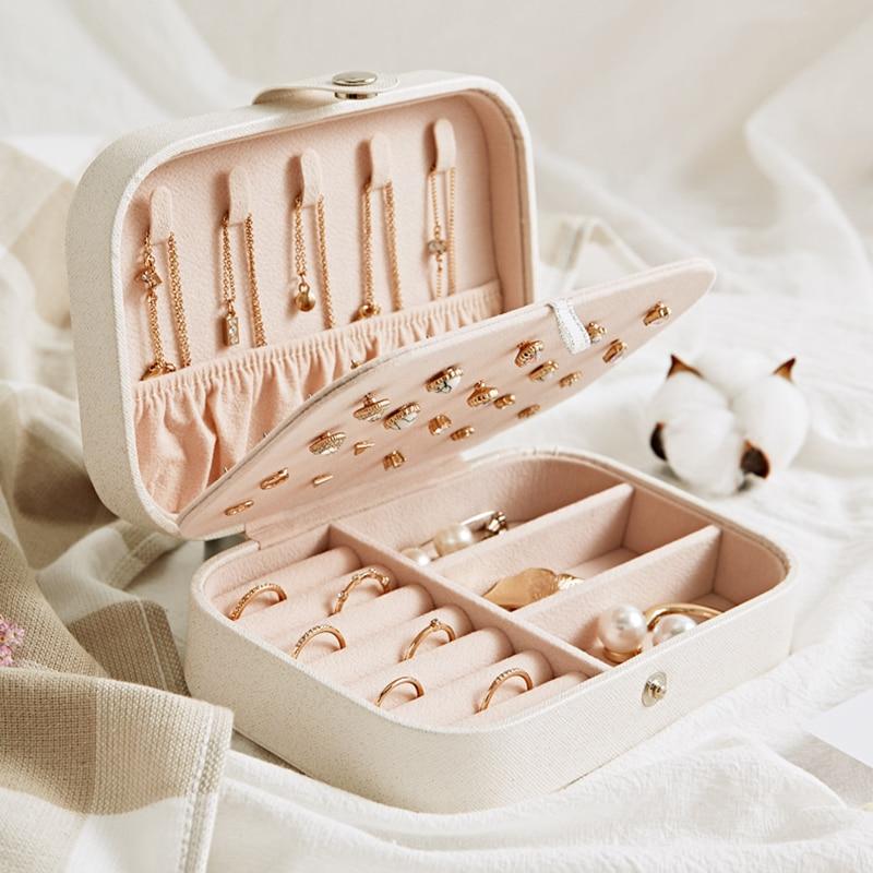 Organizador de jóias portátil moda pu brincos colar anéis de embalagem feminino exibição do parafuso prisioneiro coleção caso acessórios suprimentos
