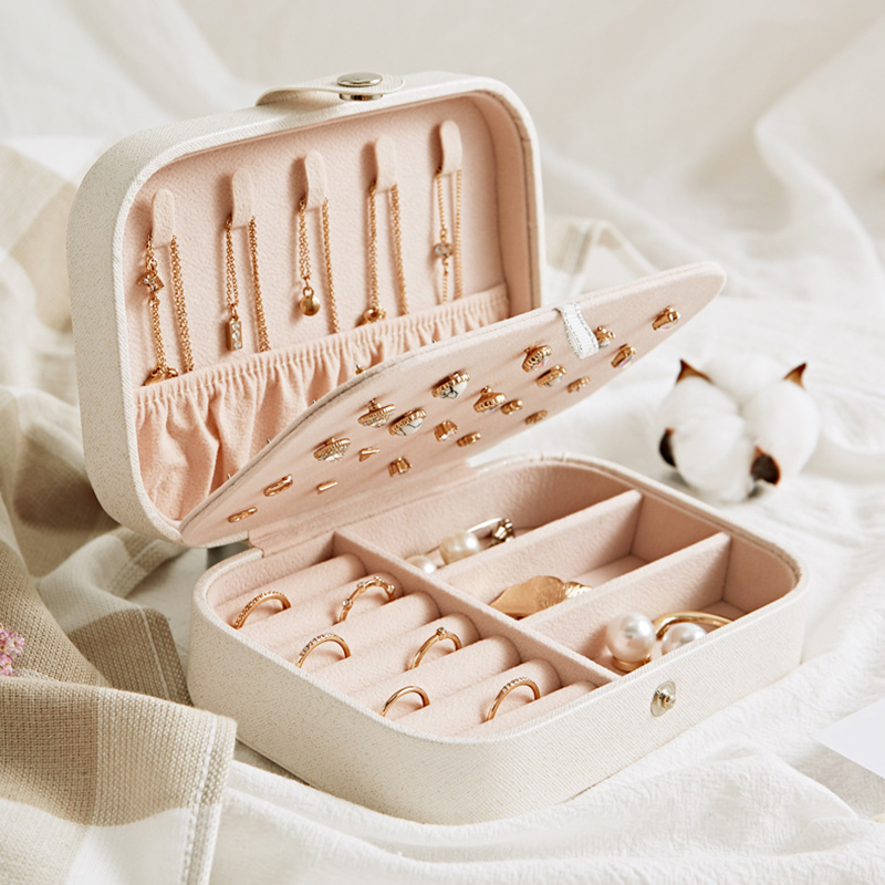 Portable Jewelry Packaging Box Necklace Nail Polish Earring Cosmetics Organizer Chest Display Beauty Case Accessories Supplies