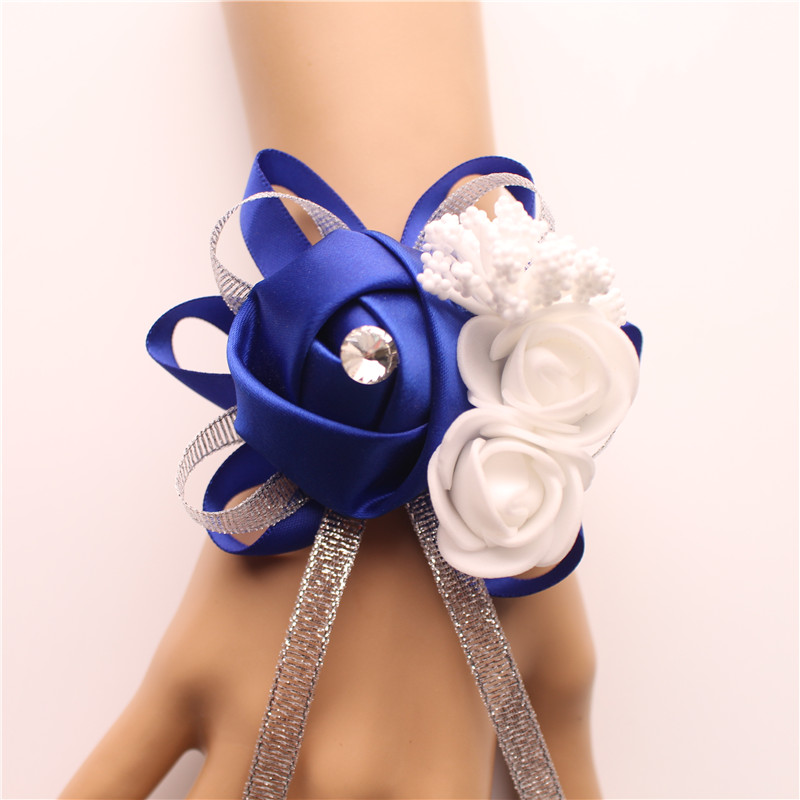 Wrist Corsage Bridesmaid silk flower  (23)