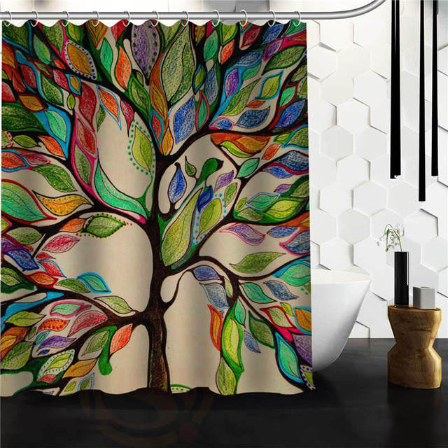 Custom The Tree Of Life Shower Curtain Bath Novelty Polyester Fabric Waterproof Hooks