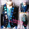 Обычный корейский воздушный металл куртка женщины Dj бар ночной клуб певица DS мужчины блёстки костюм платье костюмы обычный ночной клуб одежда