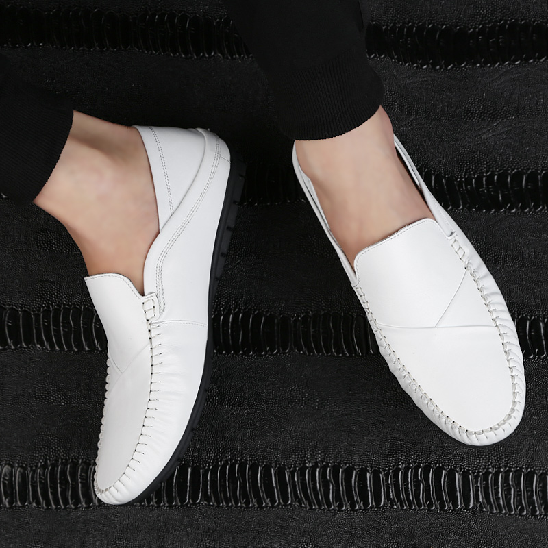 2019 new style men 39 s shoes casual genuine leather loafers male white black slip on shoe man flat driving shoes for men hot sale in Men 39 s Casual Shoes from Shoes