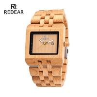 REDEAR Male Natural Wooden Watches Men Antique Birch Wood Square Watch Luxury Casual Quartz Wrist Watch Automatic Brand Watch