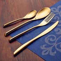 JK HOME 24K Gold 4Pcs Set Flatware Stainless Steel Tableware Cutlery Set Dinner Knife Fork Spoon