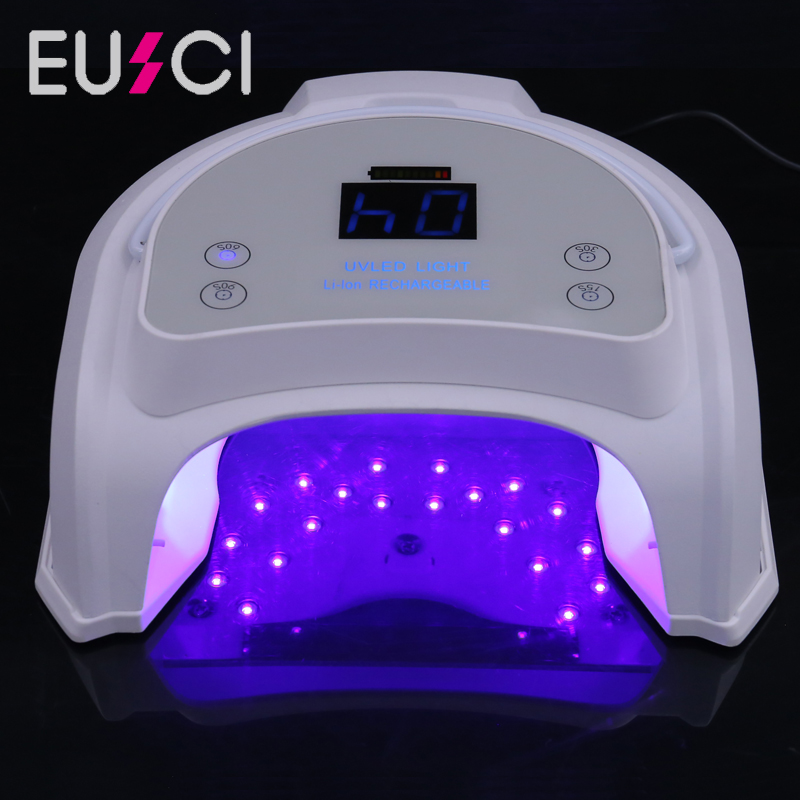 64W Rechargeable UV LED Nail Lamp Nail Dryer For Curing Nail Gel Polish Manicure Machine With Timer Button Sensor Nail Art Tool