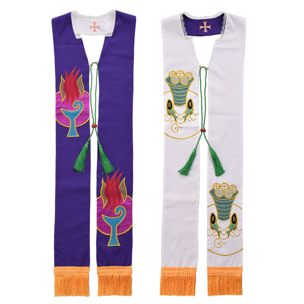 1pc Revesible Stole Religions Clergy Priest Embroidered Mass Stole with Fringe