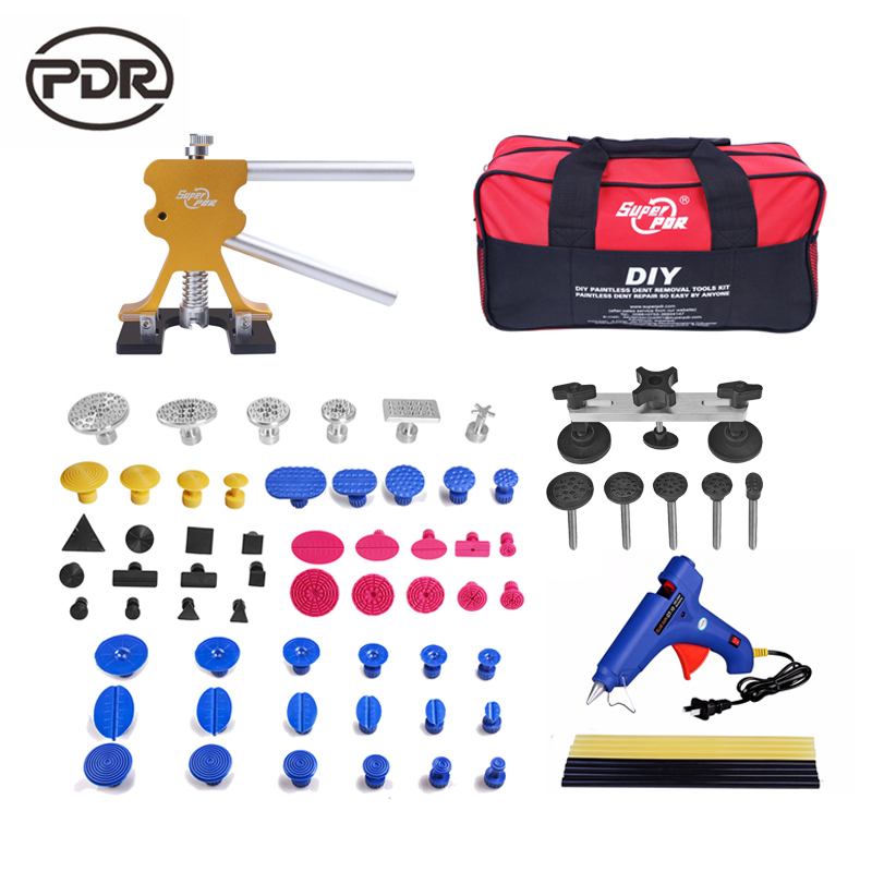 Super PDR Tools Car Dent Repair Kit Car Body Repair Kit Auto Tools Dent Lifter Pulling Bridge 220 V Glue Gun Tool Bag 5 second fix liquid plastic welding kit uv light repair tool glue kit
