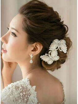2pcs set pearl butterfly crystal flower handmade hair stick hair pin fashion bridal hair accessories wedding hair jewelry in hair jewelry from jewelry