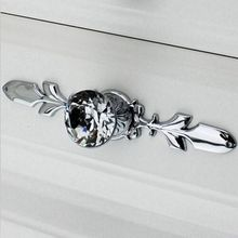 Fashion Deluxe Diamond cabinet handle k9 crystal drawer knob silver chrome dresser cupboard pull 170mm BackPlate
