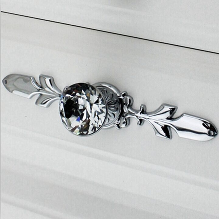 Fashion Duluxe Diamond Cabinet Handle Crystal Drawer Knob Silver Chrome  Dresser Cupboard Pull 170mm Back Plate