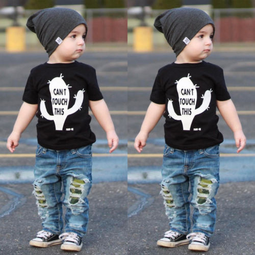2Pcs Kids Baby Toddler Boy Clothes Cactus T-shirt Tops Jeans Leggings Outfits UK