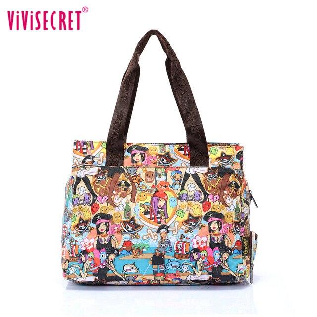 Women Summer Beach Bag Waterproof Nylon Zipper Handbag Shoulder Travel Ping Bags Fl Flower Cartoon Printed