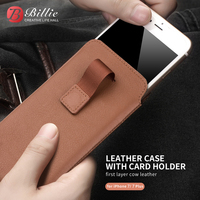 Wallet Cover Pouch For iphone7 8 Case for iPhone 8 plus Handmade Genuine Leather Sleeve For iPhone7 slots for cards 4.7/5.5 inch
