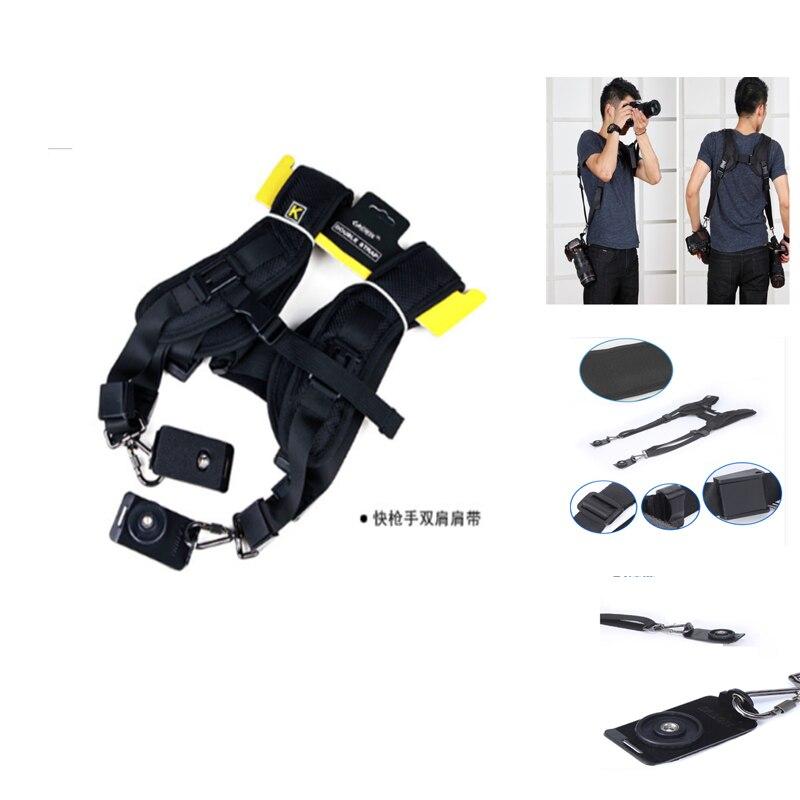 Black Double Shoulder Sling Belt Quick Rapid Strap Photo Studio Accessories for DSLR font b Digital