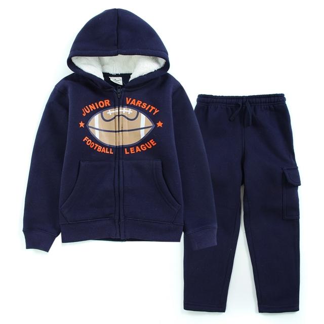 2016 Moda Invierno Cálido Niños Hooides Suéter y Pantalones de Traje Ropa de Bebé Sport Boys 2 Unids Espesar Outfit Ropa Set