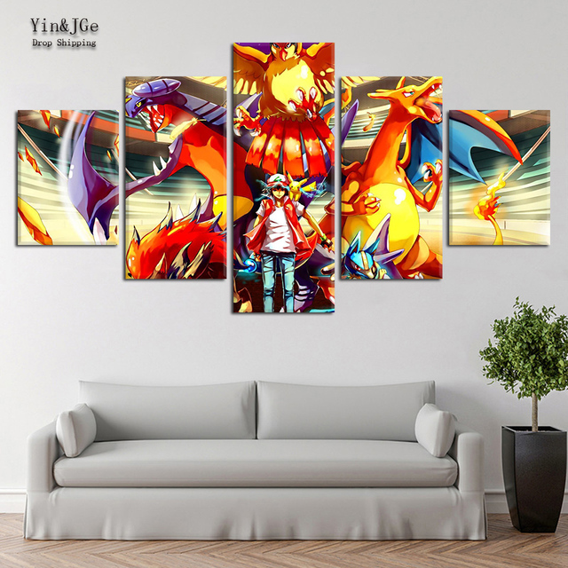 Wall Art HD Printed Anime Posters Pictures 5 Pieces Pokemon Modular Canvas  Painting Frame Modern Cuadros Decor Kids Room Artwork