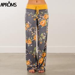 Aproms желтый Цвет заблокирован Широкие штаны Для женщин Лето 2019 уличная Штаны с высокой посадкой эластичные Повседневное шнурок длинные