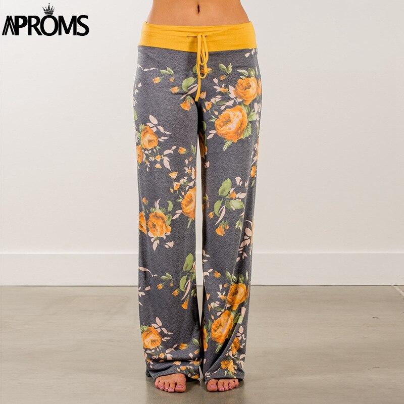 Aproms amarillo Color bloqueado ancho de la pierna Pantalones mujeres Verano de 2018 Streetwear pantalones de cintura alta elástico Casual cordón pantalones largos