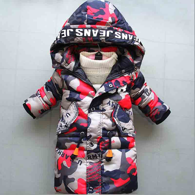 BibiCola 2018 winter new boy down cotton outerwear kids hooded camouflage long thick warm parkas jacket fit for 3-8 Y boy пуховик для мальчиков brand new 110 150 drop boy outerwear page 3