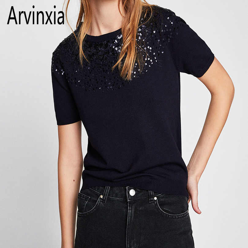 Arvinxia ZA Fashion Solid Color Slim O Neck Collar Woman Sweaters New Dot Sequinied Lady Pollovers Chic Short Sleeve Lady Shirts