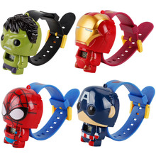 цены Super Hero Watch The Avengers Action Figures Spider Man Iron Man Watch Captain American Hulk Projection Time Kids Toy