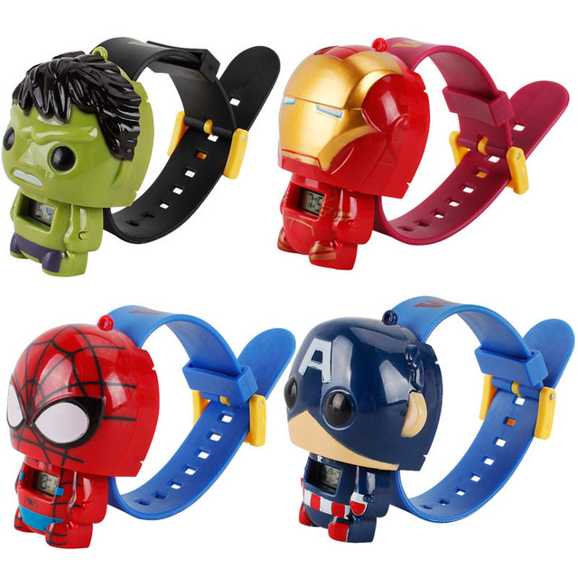 The Avengers Super Hero Watch Marvel Action Figures Captain American Hulk IronMan SpiderMan Watch Projection Time Kids Toy