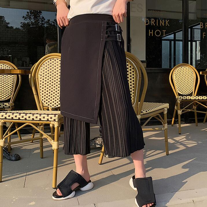 Asymmetrical Culottes Harem Pants Mens Fake Two Pieces Trousers Pantalones Hombre Irregular Pants For Men Pantalon Homme Black