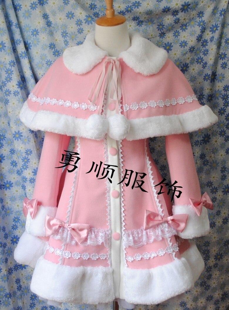 Long Princesse Marque Cappa Hiver Filles Douce Robe Laine D'hiver Manteau Avec dRTwn8B0x