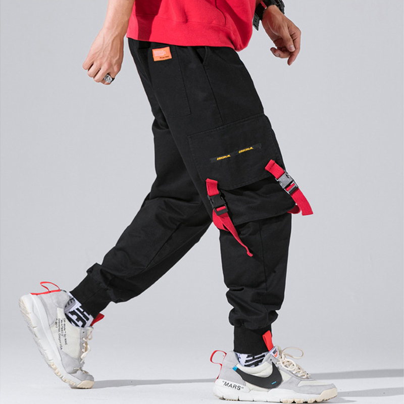 Japanese Style Fashion Men Jeans Casual Jogger Pants Black Color Big Pocket Cargo Pants Loose Fit Hip Hop Tapered Jeans Men