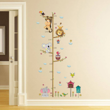 Cartoon Animals Lion Monkey Owl Elephant Height Measure Wall Stickers For Kids Rooms Growth Chart Nursery Room Decor Art