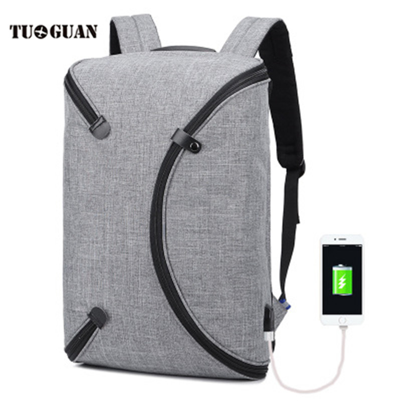 TUGUAN Fashion Men Backpack USB Charging Waterproof Anti Theft Back Pack Laptop Computer Bag Travel Bagpack for Male Boy Teenage