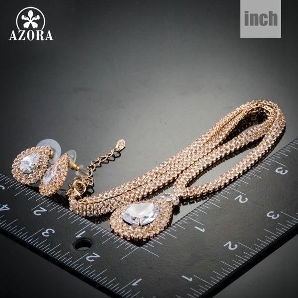AZORA υπέροχο χρυσό χρώμα διαφανές CZ - Κοσμήματα μόδας - Φωτογραφία 3