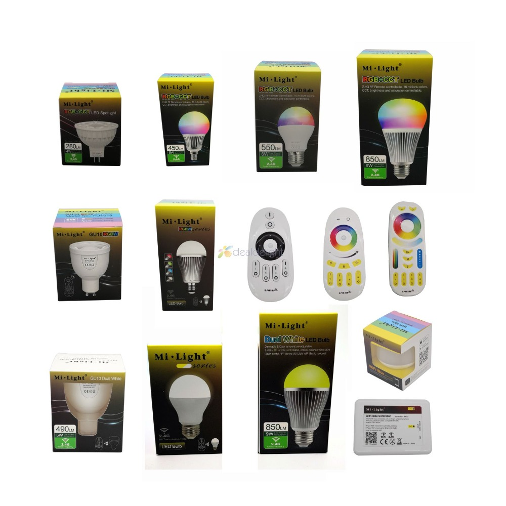 Milight 2.4G Led Bulb MR16 GU10 E14 E27 Led Lamp 4W 5W 6W 9W 12W CCT RGBW RGBWW RGB+CCT Led Light Wireless Wifi Remote Control dimmable gu10 led milight 4w ac 110v 220v 85 265v mi light led bulb lamp rgbw rgbww spotlight 2 4g wifi remote controller